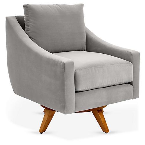 Nash Swivel Club Chair, Gray Crypton