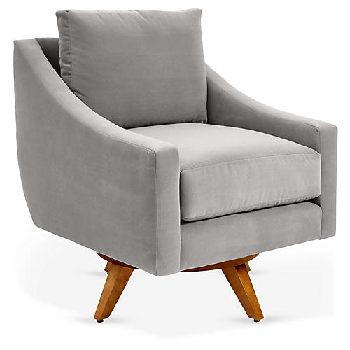 Nash Swivel Glider Chair, Gray Crypton