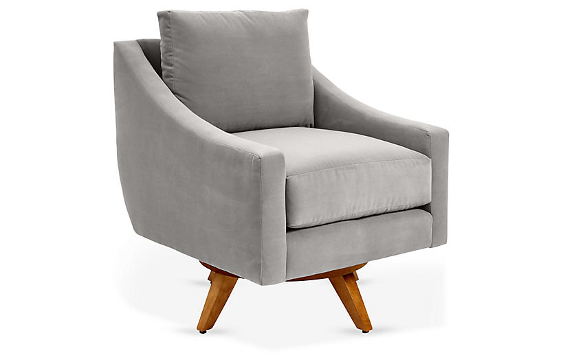 Nash Swivel Chair, Gray Crypton