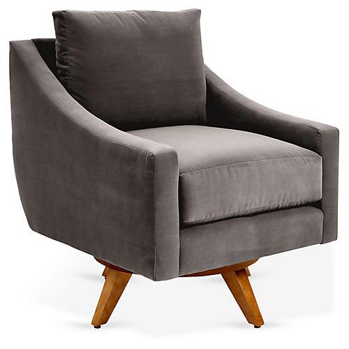 Nash Swivel Club Chair, Charcoal Velvet
