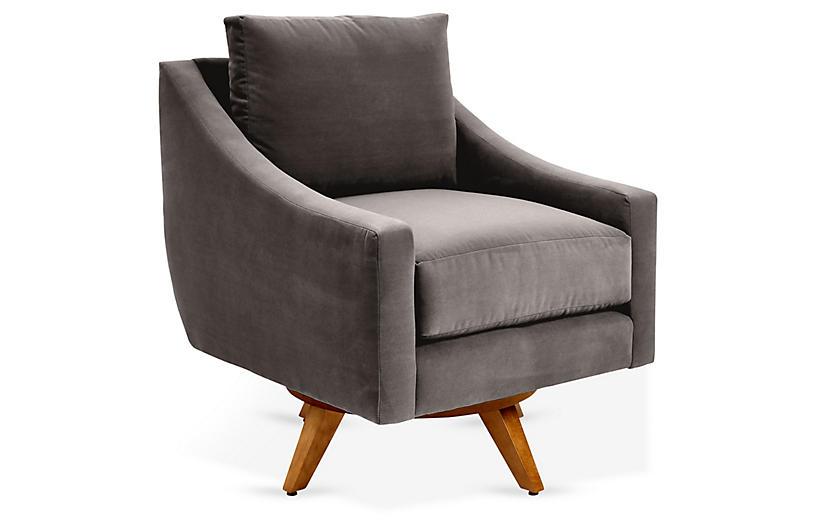 Nash Swivel Club Chair Charcoal Velvet