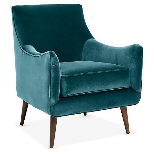 Oliver Accent Chair, Peacock Crypton