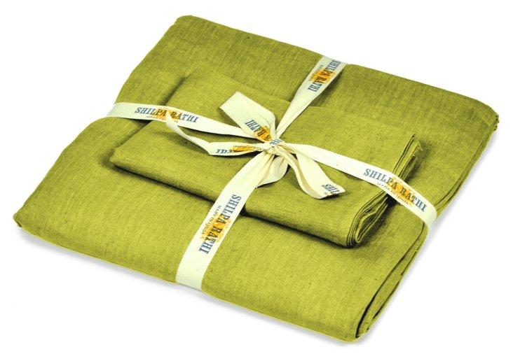 Lilo Linen Duvet Set, Chartreuse