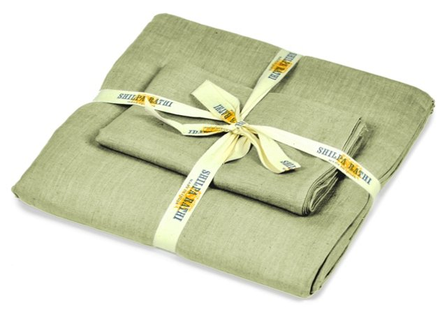 Lilo Linen Duvet Set, Feather Gray