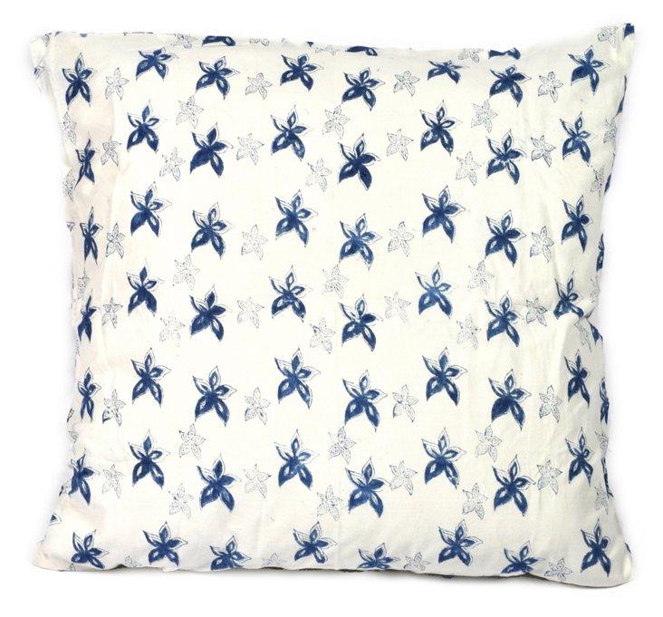 Canary 26x26 Cotton Pillow, Indigo