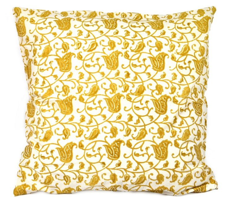 Flora Cushion Cover, Ochre