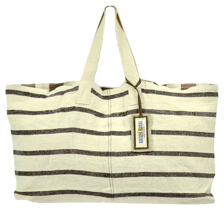 Large Chic Tote, Brown Stripes