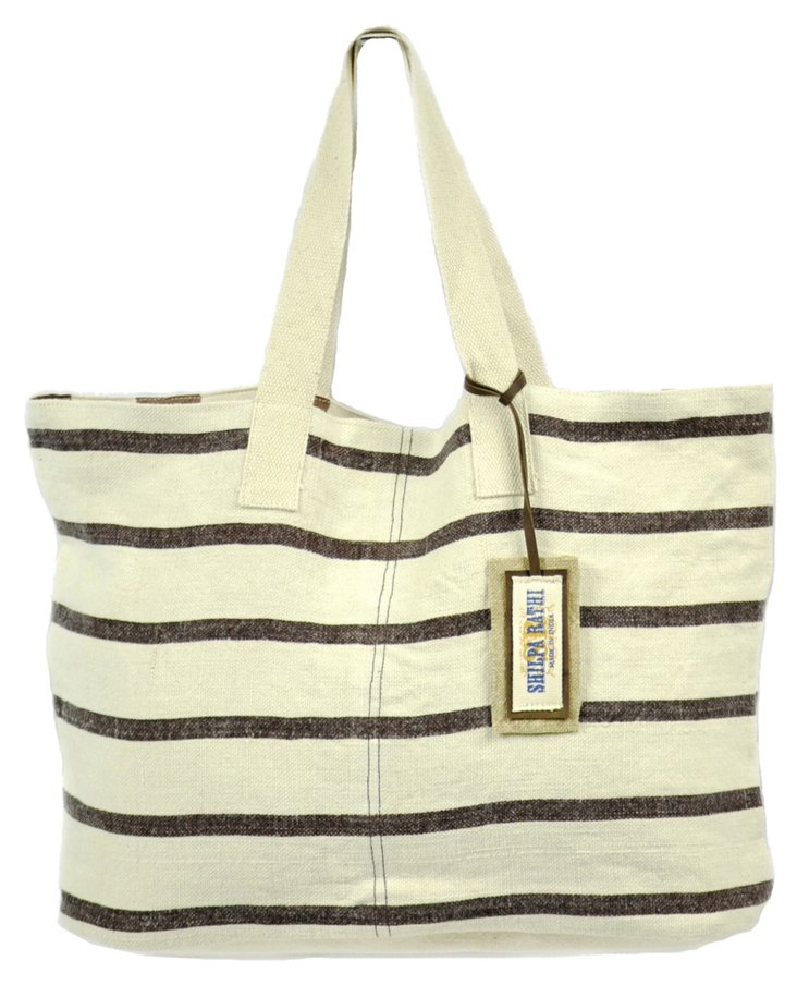 Medium Chic Tote, Brown Stripes