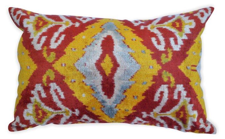 Ikat 15x25 Silk Velvet Pillow, Multi