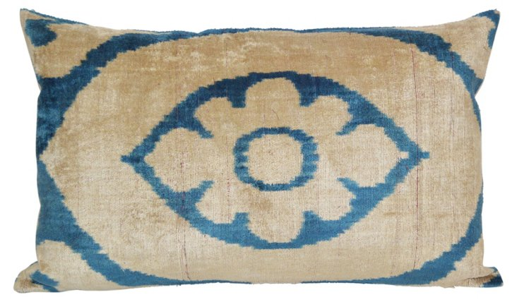 Bina 16x24 Silk Velvet Pillow, Blue