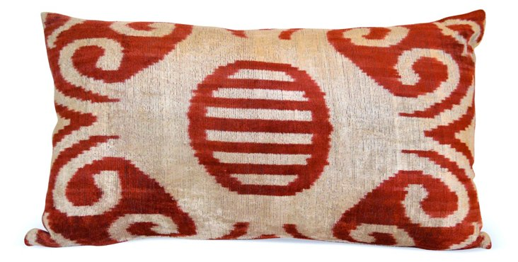 Stella 16x24 Silk Velvet Pillow, Red