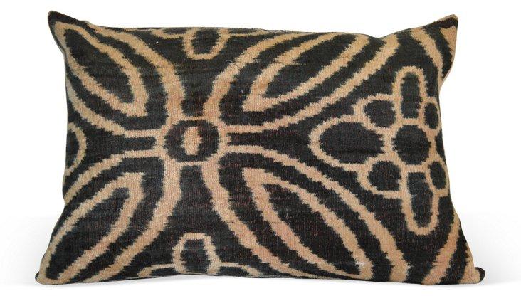 Blossom 16x24 Silk Velvet Pillow, Gray