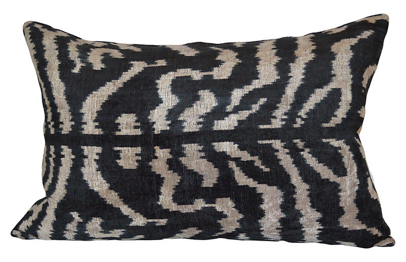 Beyoglu 16x24 Ikat Pillow, Black