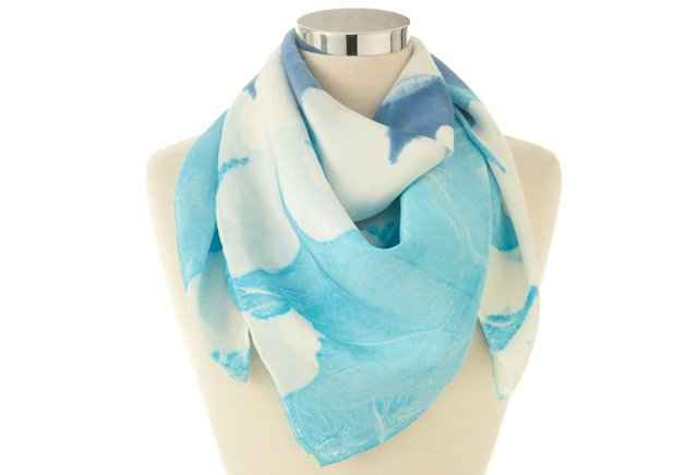 Large Silk Scarf, Turquoise Flower Pop
