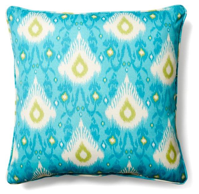 Ikat Surf Outdoor Pillow, Aqua