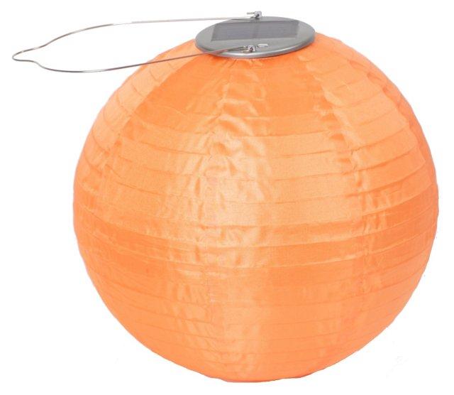"""10"""" Solar Round Lantern, Orange"""