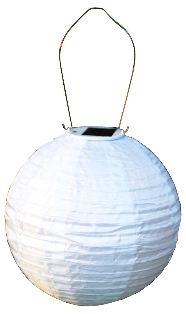 "12"" Solar Lantern w/ Amber Light, White"