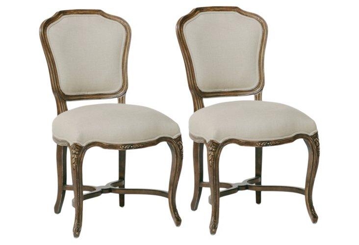 Simone Oak Chairs, Pair