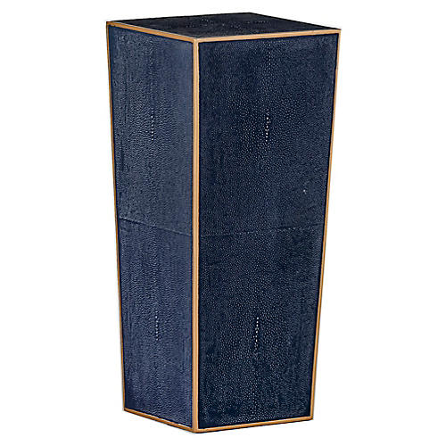 Cecil Faux-Shagreen Side Table, Navy