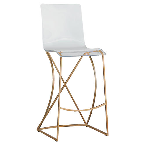 Johnson Acrylic Barstool, Gold