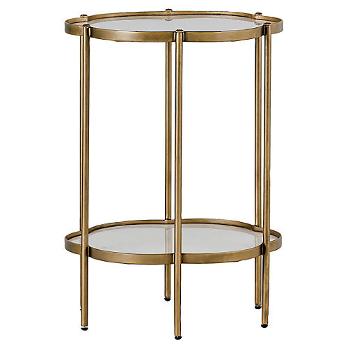 Clementine Flower Side Table, Brass