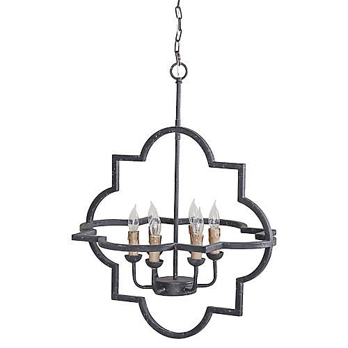 Athena 6-Light Chandelier, Rustic Black