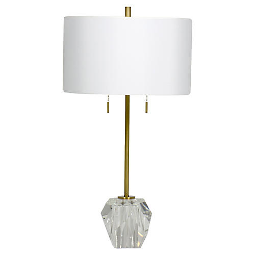 Genevieve Crystal Table Lamp, Clear/Brass