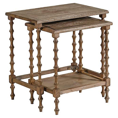 S/2 Lionel Nesting Tables, Natural Oak
