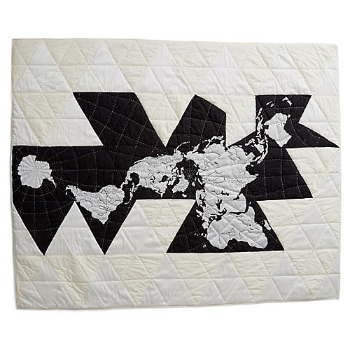 Dymaxion Cotton Quilt, Black/White/Ivory