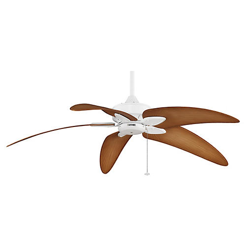 Palm Ceiling Fan, White/Natural
