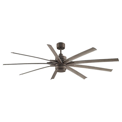 Odyn Ceiling Fan, Matte Greige/Weathered Wood