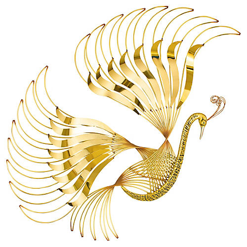 "44"" Bird of Paradise Wall Sculpture, Gold"