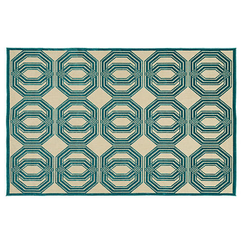 "2'1""x4' Brys Outdoor Rug, Blue"
