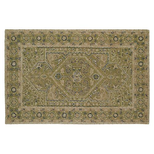 Audaz Medallion Wool Rug, Green