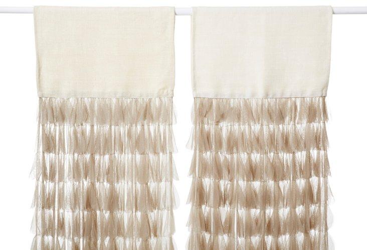 Set of 2 Chichi Petal Curtains, Sable