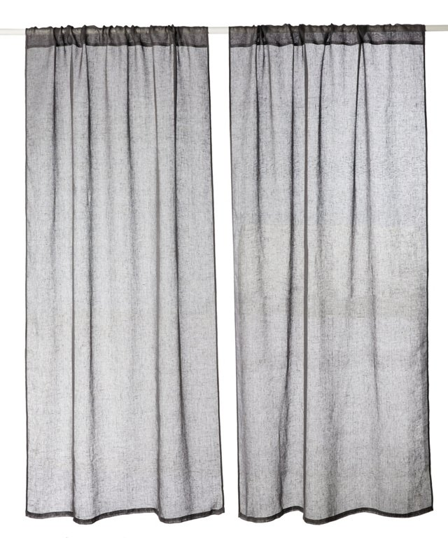 Set of 2 Solid Curtains, Gray