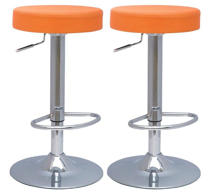 Orange Metropolis Stools, Pair