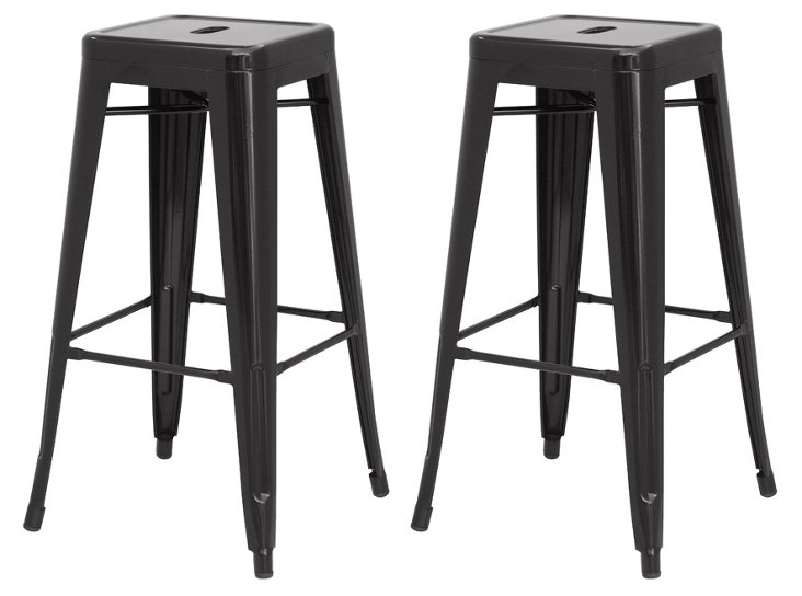 S/4 Metropolis Counter Stools, Black