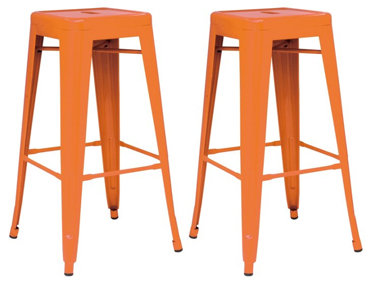Orange Metropolis Stools, Pair