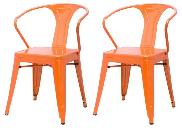 Orange Metropolis Armchairs, Pair