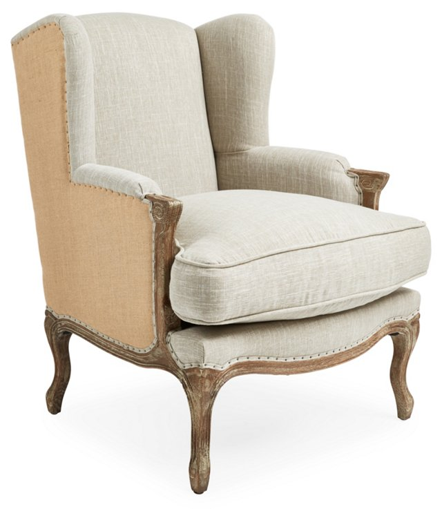 Marie Wingback Chair, Rice