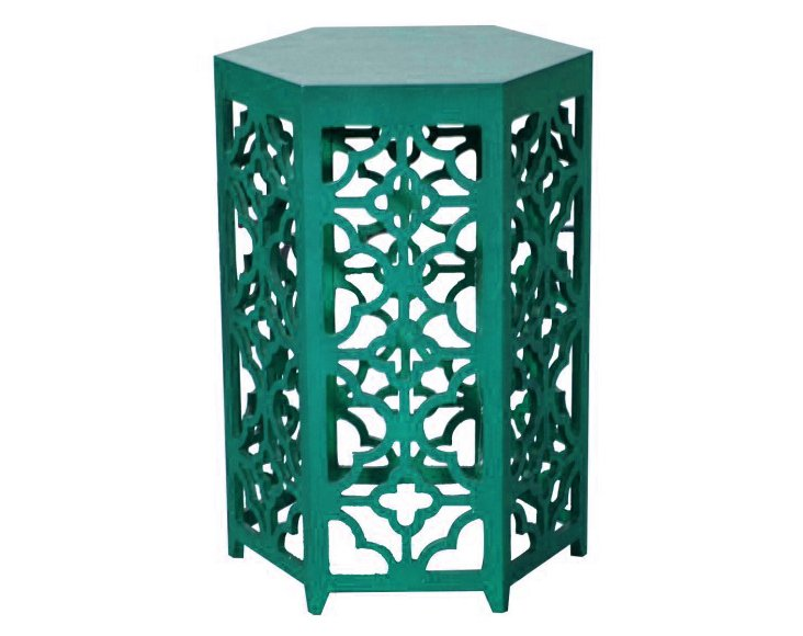 Flower Hexagonal Side Table, Green