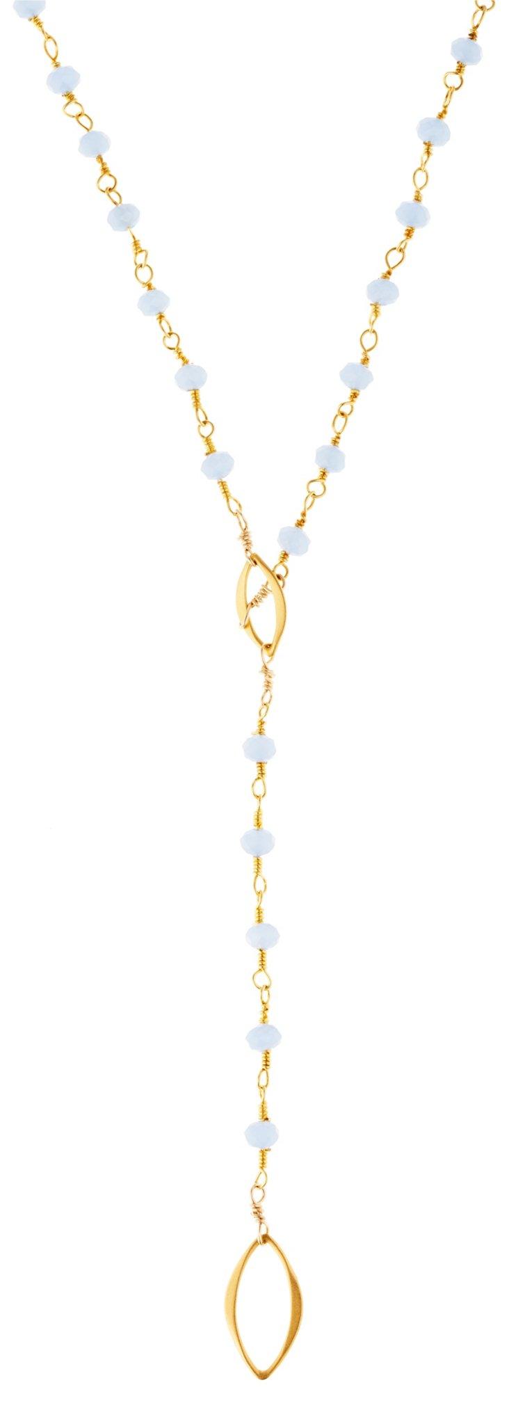 Blue Petal Y Necklace