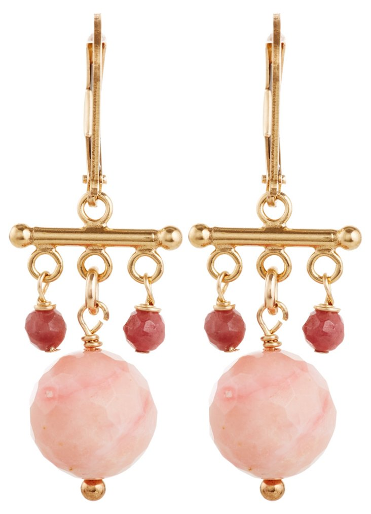 Pink Opal Chinois Earrings