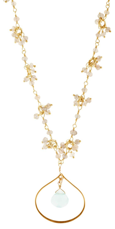 Labradorite Lotus Petal Necklace