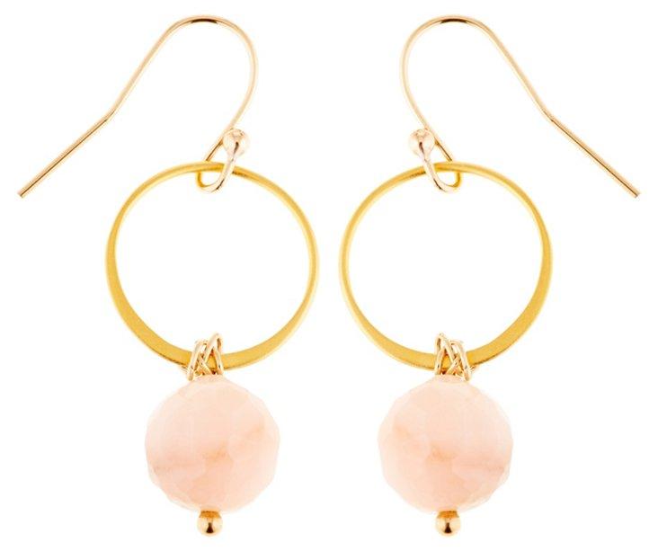 Pink Opal Circle Earrings