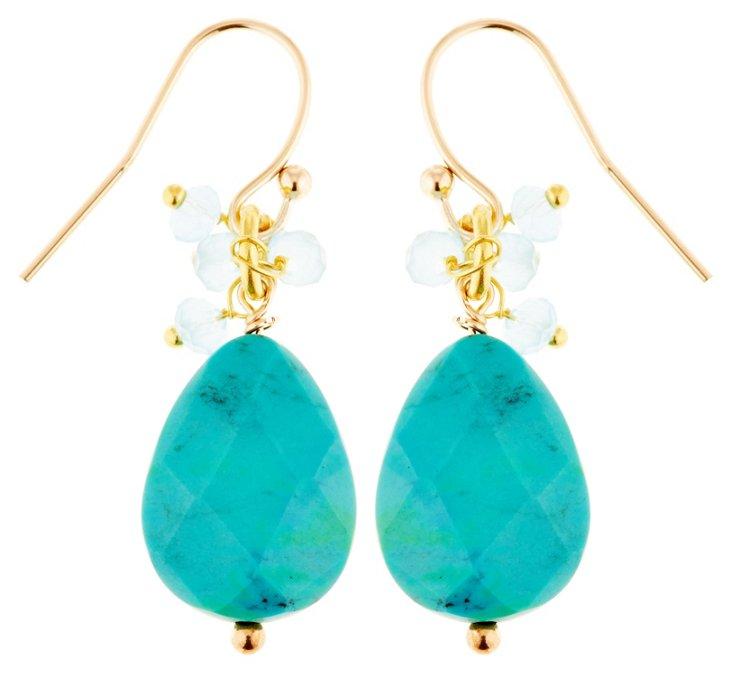 Turquoise Ruffle Earrings