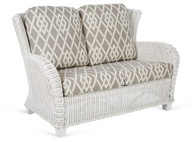 "Myrtle 53"" Loveseat, Gray/Cream"