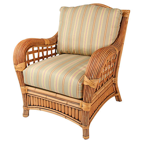 Belize Armchair, Green/Tan/Beige