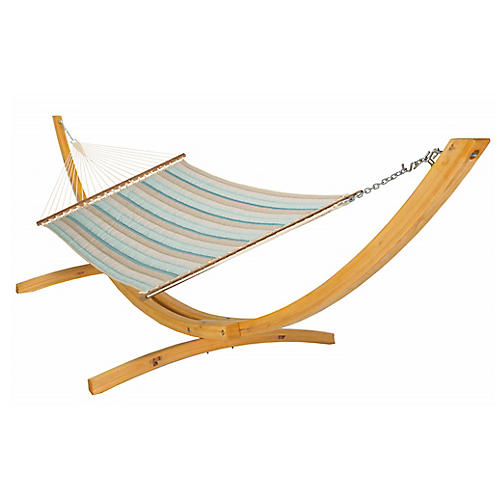Large Quilted Hammock, Blue Sunbrella